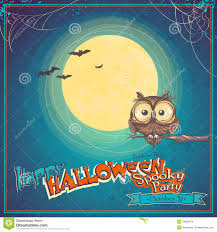 the background of halloween greeting card halloween with owl on background of the moon stock