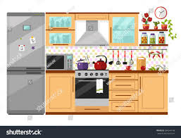Images Of Kitchen Interior Flat Design Vector Illustration Kitchen Interior Stock Vector
