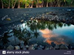 Black Sand Beaches by Sunset At Punaluu Black Sand Beach Hawaii Island The Big Island