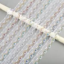 wholesale lace ribbon wholesale 50yards handcrafts embroidered shinny lace ribbon with