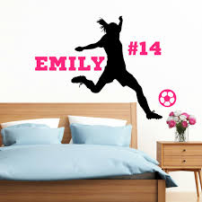 sports wall decal etsy personalized soccer girl free ship vinyl wall decal with name decor female player girls