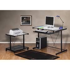 computer and printer table computer desk and printer cart value bundle black metal and glass