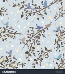 Wallpaper With Birds Seamless Blue Background Wallpaper Branches Birds Stock Vector