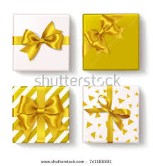 Yellow Decorative Box Decorative Floral Gift Box Red Bow Stock Vector 603953219