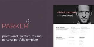 Resume Portfolio Template Parker Professional Cv Resume Personal Portfolio Template