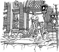 coloring page italy fountain of trevi 8