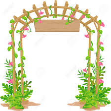 illustration of a trellis that acts as a welcome arch royalty free