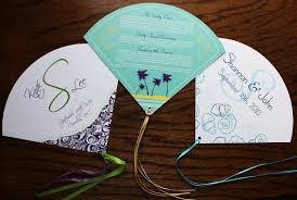 paper fan wedding programs custom wedding program fans emdotzee designs