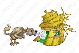 pigs big bad wolf blowing straw house illustrations