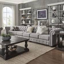 Living Room Grey Sofa by Knightsbridge Grey Linen Oversize Extra Long Tufted Chesterfield
