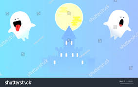 flying halloween ghost cute spooky cartoon ghost character flying stock vector 317065301