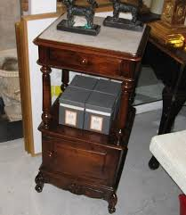 antique french marble top side table or night stand w porcelain