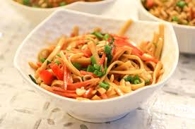 cold asian noodle salad flavoured with peanuts and sesame by