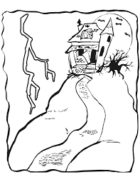 haunted house coloring page haunted house on hill