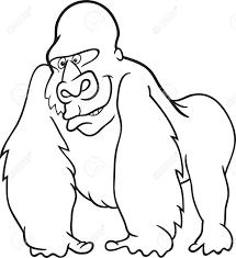 silver gorilla for coloring book royalty free cliparts vectors