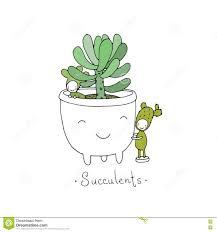 Cute Succulent Pots Cartoon Cute Succulents In Pot Stock Vector Image 75058102
