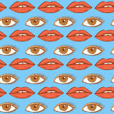 sketch lips and eye in vintage style stock vector image 55942015