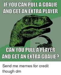 Hockey Goalie Memes - if you can pull a goalie and get an extra player nhltrolls can you