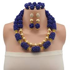 chunky crystal necklace sets images Blue beads jewellery set new dubai gold jewellery chunky crystal jpg