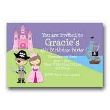 5th birthday party invitation princess and pirate party invitations free home party ideas