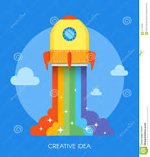 space rocket launch concept vector illustration in flat style