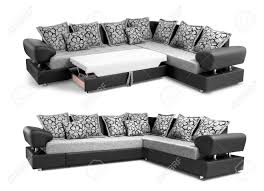chemin de canapé canapé d angle tapisserie fixé avec des oreillers isolé sur fond