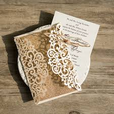 wedding invitations glitter ivory vintage glittery laser cut wedding invitations with twine