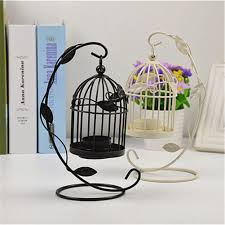 metal hollow candle holder bird cage shape leaves pattern