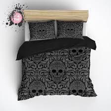 goth black and grey skull duvet bedding sets duvet bedding