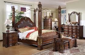Wood Leather Headboard by Bedroom Brown Cherry Canopy Bedroom Sets With Leather Headboard