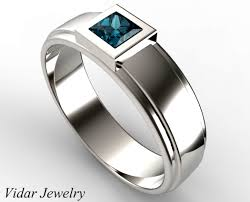 wedding ring mens unique mens princess cut blue diamond wedding ring vidar jewelry