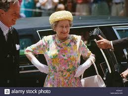 england u0027s queen elizabeth ii standing by car smiling stock photo