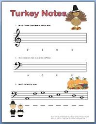 piano worksheets for for thanksgiving class