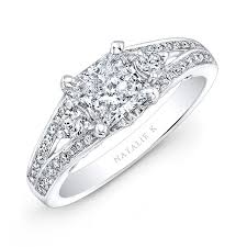 princess cut white gold engagement ring 18k white gold split shank engagement ring