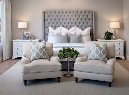 Guest Bedroom Ideas Pinterest - tufted gray headboad with accent chairs bedroom ideas