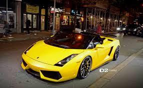 yellow lamborghini gallardo gallery lamborghini gallardo on d2forged wheels at night gtspirit