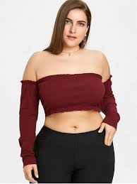 shoulder top ribbed plus size the shoulder top wine plus size blouses