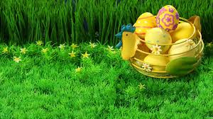 easter basket grass painted easter eggs in a basket in grass hd wallpaper fullhdwpp