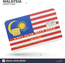 Malasia Flag Credit Card With Malaysia Flag Background For Bank Presentations