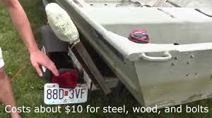 boat trailer guides with lights boat trailer guides rail homemade 18 for 14 jon boat youtube