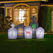 halloween 8 ft cemetary tombstones graveyard airblown inflatable