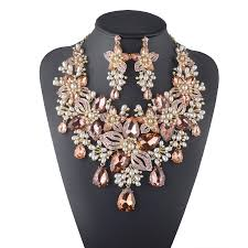 women necklace set images Formal crystal flower rhinestone white pearl wedding bridal jpg