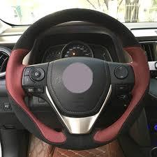 toyota rav4 steering wheel cover shop black suede wine leather car steering wheel cover