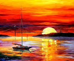 golden gate bridge by the sunset u2014 palette knife oil painting on