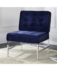 amazing deal safavieh chrome finish tufted accent chair blue navy