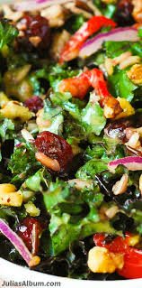 kale salad with cranberries walnuts and rice kale