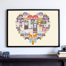 video gamer art print xbox one game controllers poster man