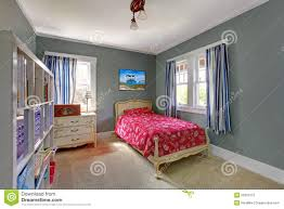 Red And Grey Bedroom by Kids Bedroom With Red Bed And Grey Walls Royalty Free Stock Photo