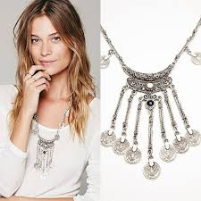 long boho pendant necklace images Boho vintage ethnic black stone pendant necklace coin bib choker jpg