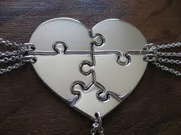 heart puzzle necklace images Five piece heart puzzle necklace pendants jpg